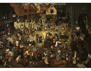 Pieter Brueghel l'Ancien (vers 1525-1569), Le Combat de Carnaval et Carême (1559)