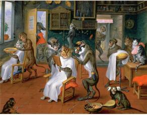 Tableau d'A. Teniers (1627-1670), Barbier avec singes et chats