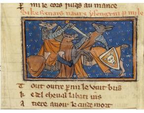 Enluminure représentant le combat de Renart et d'Ysengrin