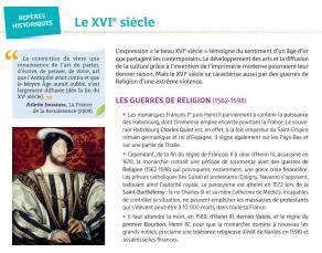 Repères historiques - Le XVIe siècle